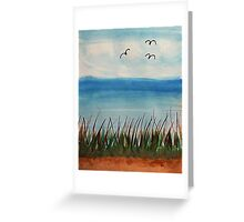 Tall  grass along the waterfront, with birds, watercolor Greeting Card