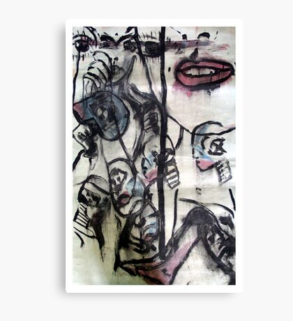 Test Model, 1997, Acrylic & Ink on Paper, Justin Curfman Canvas Print
