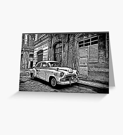 Vintage Car Graphic Novel Style Greeting Card