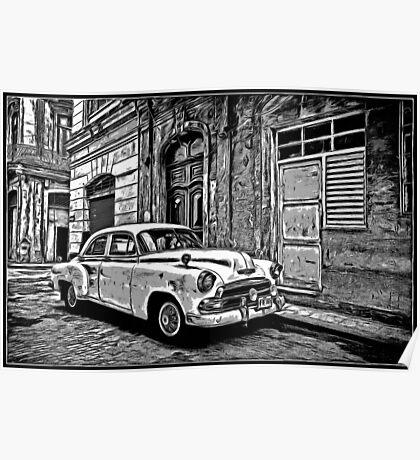 Vintage Car Graphic Novel Style Poster