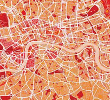 London Map Art Red by Michael Tompsett