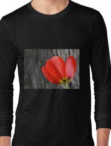 Varigated Red Tulip Petals Long Sleeve T-Shirt