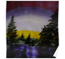Sunset over the pines, watercolor Poster