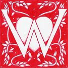 Red Heart Letter W by Donna Huntriss
