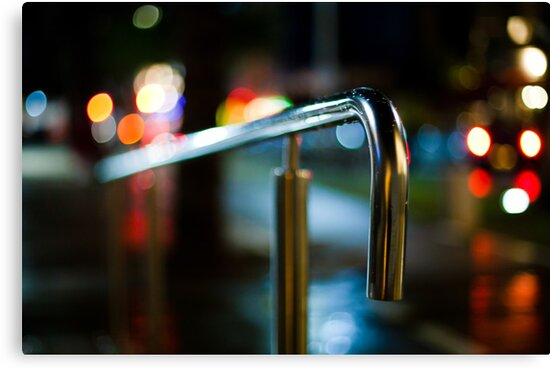 handrail at night by Victor Bezrukov