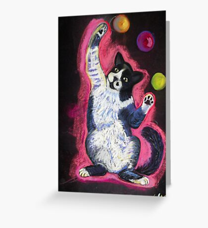 Juggling Cat Greeting Card