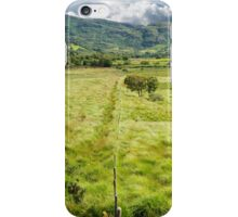 fence leading to green rocky mountains  iPhone Case/Skin