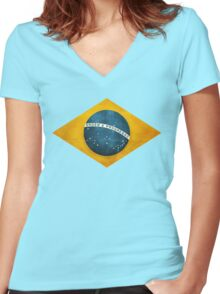 Brazil flag bresil brasil Women's Fitted V-Neck T-Shirt