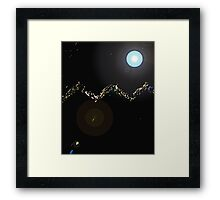The Mountains with Shooting Stars Framed Print