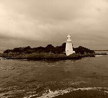 Lighthouse on Sarah Island - tasmania - sepia by lighthousecove