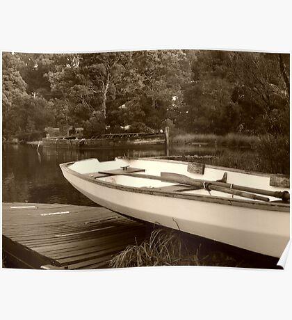 Boats at Risby Cove -Strahan -Tasmania  -  sepia Poster