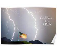 Lightning Strikes God Bless the USA Poster