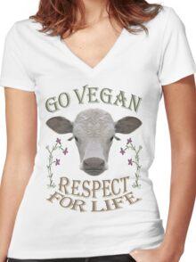 GO VEGAN - RESPECT FOR LIFE Women's Fitted V-Neck T-Shirt