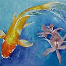 Butterfly Koi with Orchids by Michael Creese