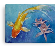 Butterfly Koi with Orchids Canvas Print