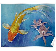 Butterfly Koi with Orchids Poster