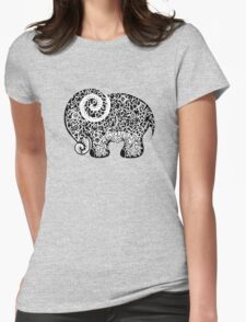 Elephant Doodle Womens Fitted T-Shirt