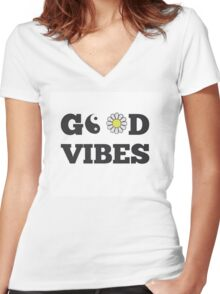 GOOD VIBES Women's Fitted V-Neck T-Shirt