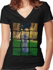 Holy Mary wayside cross   cultural heritage Women's Fitted V-Neck T-Shirt