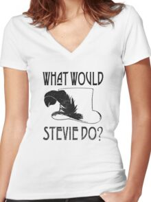 WHAT WOULD STEVIE NICKS DO - VINTAGE Women's Fitted V-Neck T-Shirt