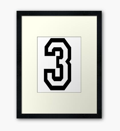 3, TEAM SPORTS, NUMBER 3, THREE, THIRD, Competition, Tri,  Triple Framed Print