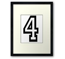 4, TEAM SPORTS, NUMBER 4, FOUR, FOURTH, Competition, Quatro Framed Print
