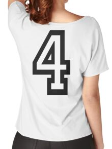 4, TEAM SPORTS, NUMBER 4, FOUR, FOURTH, Competition, Quatro Women's Relaxed Fit T-Shirt