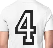 4, TEAM SPORTS, NUMBER 4, FOUR, FOURTH, Competition, Quatro Unisex T-Shirt