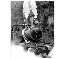 Wilderness Train at Strahan  -Tasmania   -B&W Poster