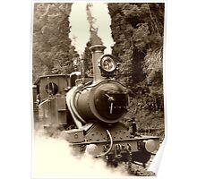 Wilderness Train at Strahan  -Tasmania   -  sepia Poster