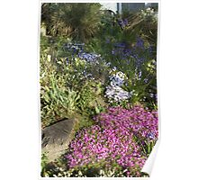 Blue,  White and Pink Garden Poster