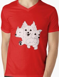 Corgerberus  Mens V-Neck T-Shirt