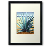 Agave en la Playa - oil painting of cactus on a Mexican beach Framed Print