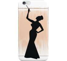 sexy girl silhouette with a cigar iPhone Case/Skin