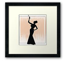 sexy girl silhouette with a cigar Framed Print