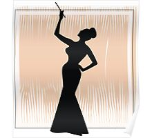 sexy girl silhouette with a cigar Poster