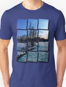 Trees and stream in winter wonderland | landscape photography Unisex T-Shirt