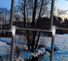 Trees and stream in winter wonderland | landscape photography Sticker