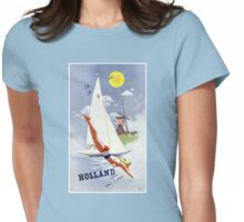 Holland Vintage Travel Poster Restored Womens Fitted T-Shirt