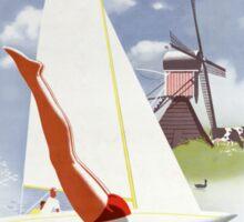 Holland Vintage Travel Poster Restored Sticker