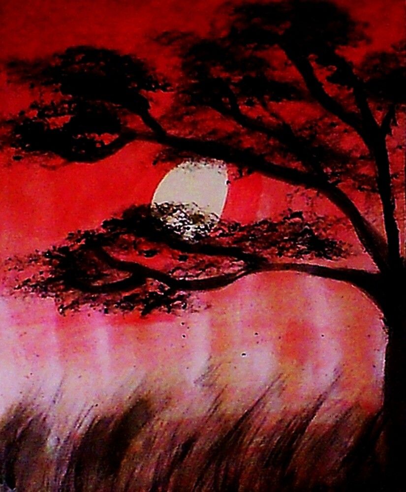 Moon shining thru the tree, watercolor by Anna  Lewis