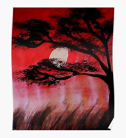 Moon shining thru the tree, watercolor Poster