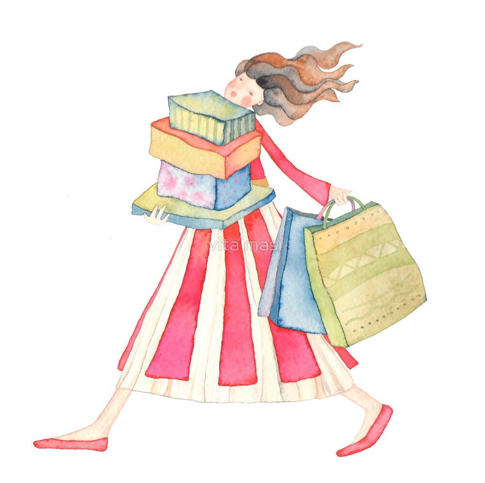 "Girl shopping ,illustration of the story ""backpack"" by vimasi"