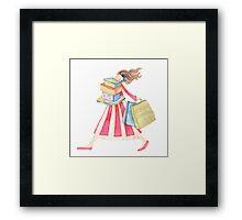 """Girl shopping ,illustration of the story """"backpack"""" Framed Print"""
