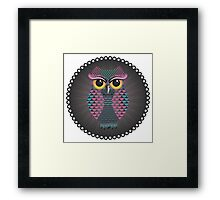 Pink and Blue Color Owl Framed Print