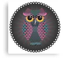 Pink and Blue Color Owl Canvas Print