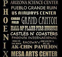 Phoenix Arizona Famous Landmarks by Patricia Lintner