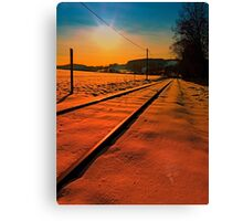 Winter season railroad sunset | landscape photography Canvas Print