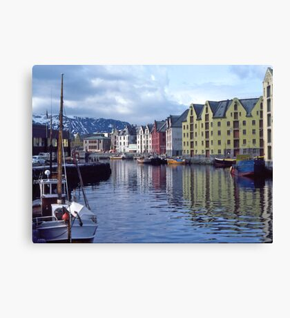 Fishing port, Alesund, Norway. Canvas Print