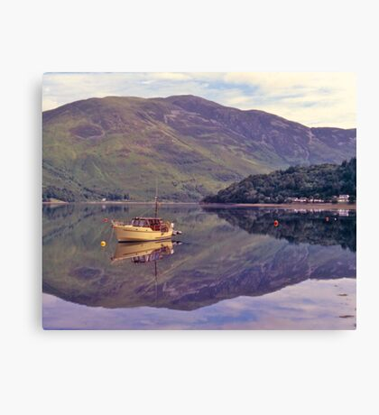 Loch Leven, reflections, Glencoe, Scotland. Canvas Print